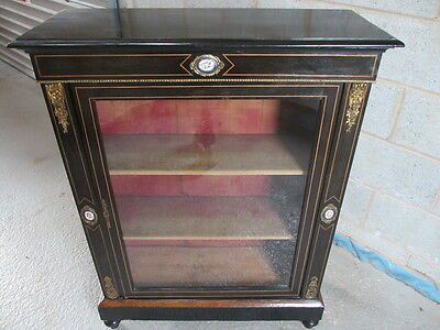 Victorian ebonised and strung glazed display cabinet (ref 1111)