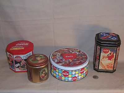COCA COLA COLLECTIBLE METAL TINS LOT OF 4  Kitchen Canisters Organize Store