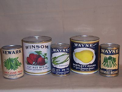 Lot of Vintage Labels Vegetable Tin Cans Beets Peas Green Beans Corn Pears Store