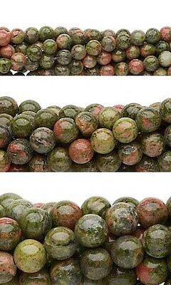 Wholesale Lot of 10, 16 inch Strands of Round Unakite Natural Gemstone Beads