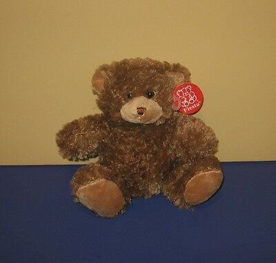 "New 8"" Soft Sparkle Look Brown Teddy Bear Stuffed Plush by Fiesta"