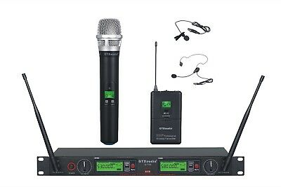 GTD Audio 2x800 Ch UHF Wireless Lavaliere Lapel Headset Microphone System 733HL