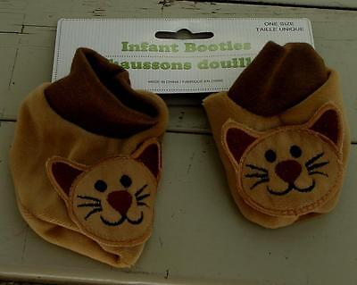 BRAND NEW WITH TAGS One Size Newborn Infant Booties, Kitty Cat, SOFT, SO CUTE
