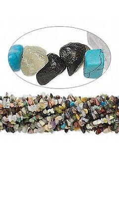 Huge Lot of 10, 36 inch Strands Assorted Natural & Manmade Gemstone Chip Beads