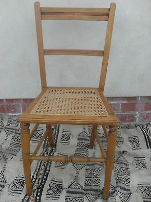 Edwardian Beech and Bergere Caned Occasional Chair