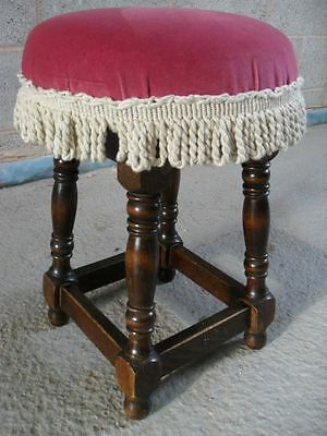 Oak Box Stretchered Circular Upholstered Topped Stool