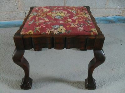 Mahogany Square Shaped Stool with Cabriole Legs