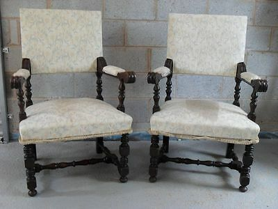Pair of oak framed throne chairs with turned legs