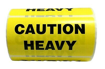 500 Labels of 4x2 Yellow CAUTION HEAVY Special Handling Shipping Rolls