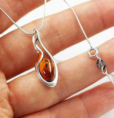 "Solid 925 Sterling Silver Genuine Baltic Cognac Amber Pendant Necklace 18"" + box"
