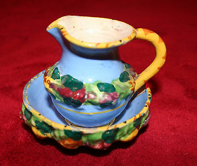 Vintage Vanro Art Pottery Pitcher & Saucer from Como, Italy - Signed Numbered