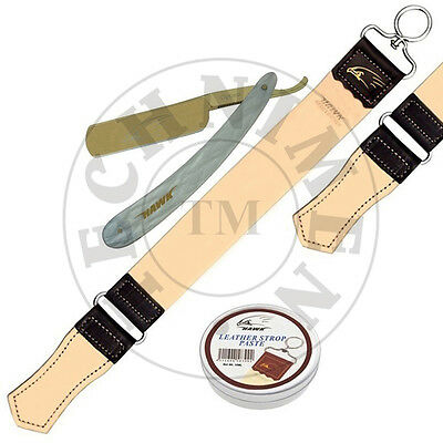 Straight Cut Throat Wet Shaving Razor Leather Strop Strap Belt With Paste