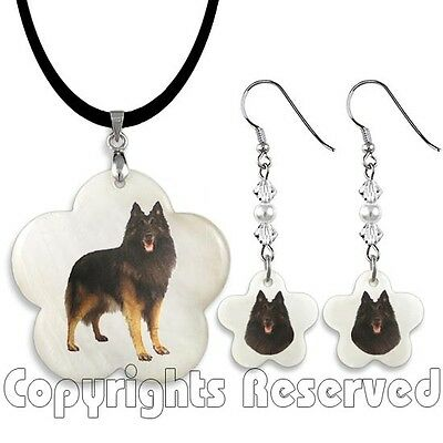 Belgian Tervuren Dog Mother Of Pearl Flower Necklace & Earrings Jewelry Set M127