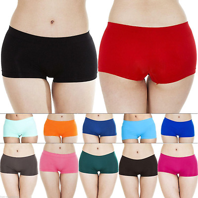 Womens Knickers Plain Panties Pants Ladies Underwear Boxer Shorts Size S M L