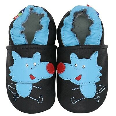 carozoo wolf black 6-12m new soft sole leather baby shoes