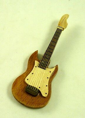 Dollhouse Miniature Wood Electric Style Guitar,T8488