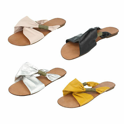 946cdb3282 Ladies Spot On Flat Slip On Summer Sandals Black Blue Nude Yellow Silver  F0574