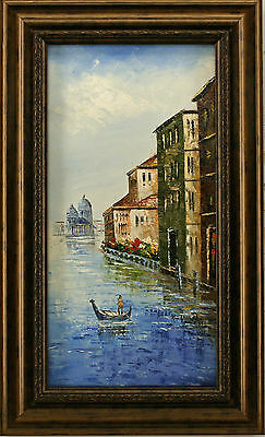 Venice Italy Gondola Boat River Canal  Old Buildings art FRAMED OIL PAINTING