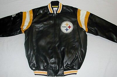 Pittsburgh Steelers Nfl Team Apparel Faux Leather Jacket Men's M L Xl 2X Black