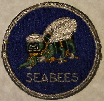 Seabees WWII Navy Patch Royal Blue Background and Light Green Bee Variant!