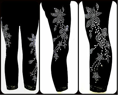 Regular One Size Capri Length Leggings Embellished Rhinestone Silver Floral