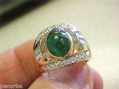 Beautiful Estate Cab Emerald & Diamond Ring 14k Gold  size 7   Make Offer