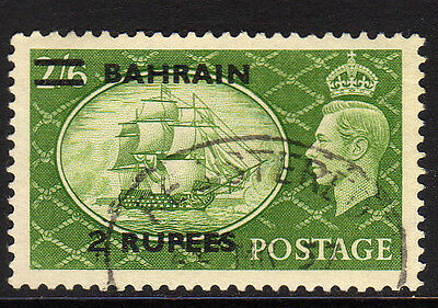 BAHRAIN 1950 2r ON 2/6d SURCH. TYPE III SG 77b FINE USED.