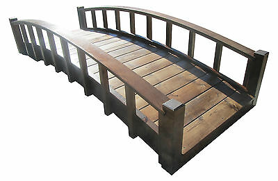 8' Japanese Garden Bridge with Arched Railings, Made in USA, New