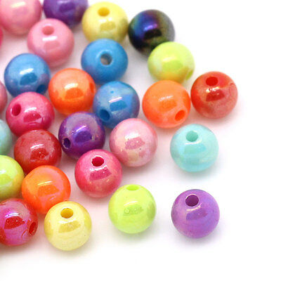 "500PCs Mixed AB Color Round Acrylic Spacer Beads 6mm(2/8"") Dia"