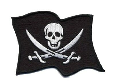 Jolly Roger Pirate Skull Flag Punk Embroidered Iron on Patches