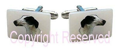Greyhound Puppy Dog Natural Shell Mother Of Pearl Cufflinks + Gift Box SCS149