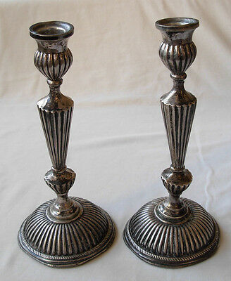 PAIR OF ANTIQUE  STERLING SILVER CANDLESTICKS -200 grams -- SOLD A/F