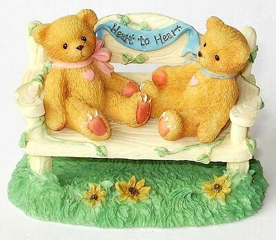 """Cherished Teddies: """"Heart To Heart"""" Two Bears on Bench"""