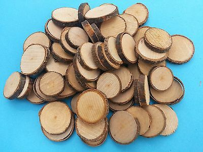 Rustic WOODEN DISCS with Natural Bark Surround CRAFT Size Choices Large or Small