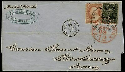 #26 & #36 USED ON COVER GOING TO FRANCE NY SEPT 29 12 PAID CANCEL CV $530 BQ1398