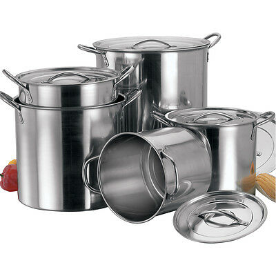 5Pc Large Stainless Steel Catering Deep Stock Soup Boiling Pot / Stockpots Set