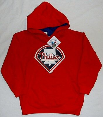 Philadelphia Phillies Mlb Hooded Sweatshirt Hoodie Red Youth S M L Xl Nwt