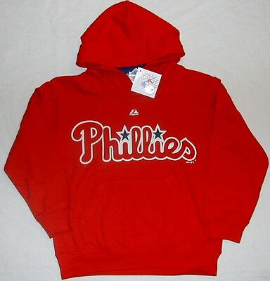 Philadelphia Phillies Hooded Sweatshirt Hoodie Youth S M L Xl Red Nwt