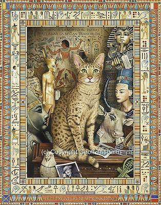 Egypt Egyptian Cat Print LARGE Canvas Picture Poster Painting NEW Geoff Tristram