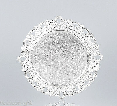 20PCs Silver Plated Round Cabochon Setting Connectors 3.1x3.1cm(Fit 20mm)