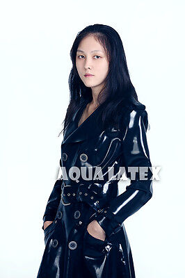0.8mm Unisex Mackintosh Style Latex Rubber Raincoat Kyra Raincoat Latex Jacket