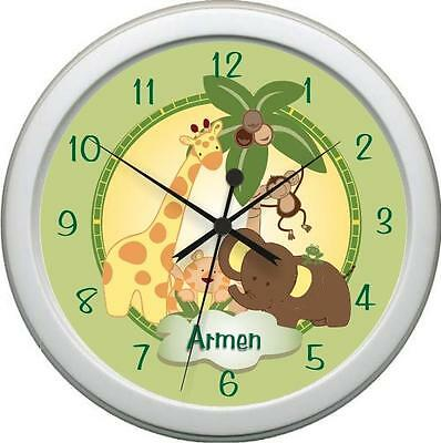 Personalized  JUNGLE BABIES Bedding Wall Clock Nursery Decore