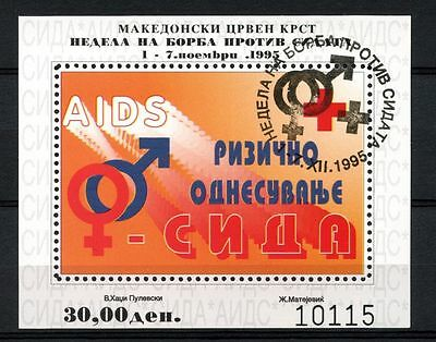 Macedonia 1995 Anti Aids Week Cto Used M/S #A35200