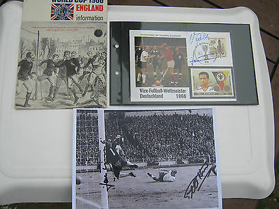 1966 World Cup Original Items  Photo & Sheet & Signed Card By Seeler & Tilkowski