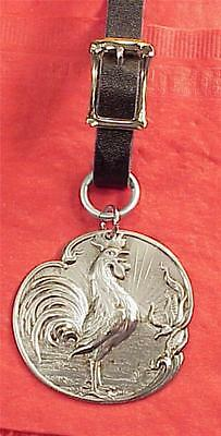 Vintage Steel Barnyard Rooster Cock O'd Walk  2in Pocket Watch Fob with newstrap