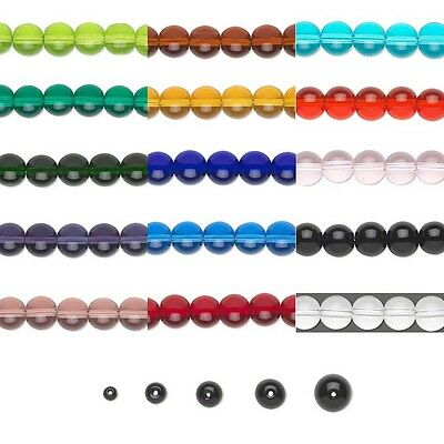 Transparent Smooth Round Glass Beads, 36 Inch Strand Many Colors Small - Big