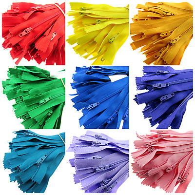 "9"" Closed End Nylon Zips / 26 Colours Available / Assorted Option / 23cm Zippers"