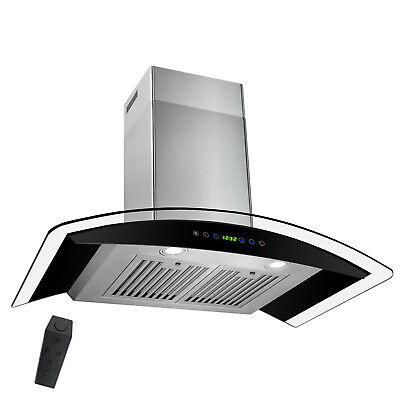 "Kitchen 30"" Wall Mount BLACK Stainless Steel Range Hood Stove Vents"