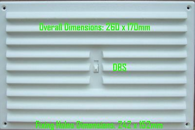 """White Plastic 9"""" x 6"""" 260mm x 170mm Hit & Miss Adjustable Louvre Wall Air Vent"""