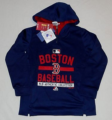 Boston Red Sox Majestic Thermabase Hooded Sweatshirt Hoodie Youth S M L Xl Blue